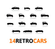 Retro icons set, different silhouette shape cars Royalty Free Stock Images