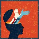 Retro idea con cervello umano Immagini Stock Libere da Diritti