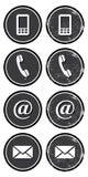 Retro- Ikonen des Kontaktwebs und -internets eingestellt stock abbildung