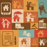 Retro- Ikonensatz der Immobilien Auch im corel abgehobenen Betrag Stockbild
