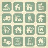 Retro- Ikonensatz der Immobilien Auch im corel abgehobenen Betrag Stockbilder