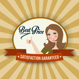 Retro illlustration with a  woman and best price message Royalty Free Stock Images