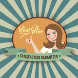 Retro illlustration with a  woman and best price message Stock Photo
