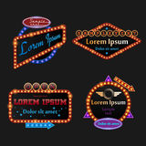 Retro illuminated marquee set. In vector Stock Images