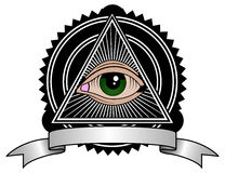 Retro Illuminati. All seeing eye pyramid retro symbol Royalty Free Stock Photography