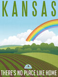 Retro illustrated travel poster for Kansas Royalty Free Stock Photos