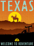 Retro illustrated travel poster for Texas Royalty Free Stock Photos