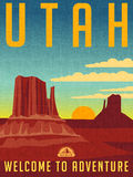 Retro illustrated travel poster for Utah Stock Photo