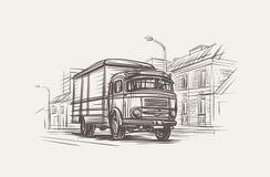 Retro Illustratie van de Leveringsvrachtwagen Getrokken hand, vector, eps 10 Royalty-vrije Stock Foto