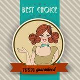 Retro illustratie van een mooie vrouw en een beste keusbericht Stock Foto's