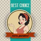 Retro illustratie van een mooie vrouw en een beste keusbericht Stock Fotografie