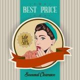 Retro illustratie van een mooie vrouw en een beste prijsbericht Stock Afbeelding