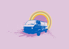 Retro illustration. Of old stylish Volkswagen Transporter. Vector Vector Illustration