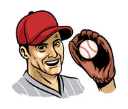 Retro illustration of baseball player wearing glove Stock Images