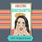 Retro illustration of a beautiful woman and amazing discounts me Stock Photography