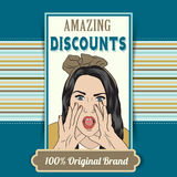 Retro illustration of a beautiful woman and amazing discounts me Royalty Free Stock Images