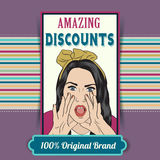 Retro illustration of a beautiful woman and amazing discounts me Royalty Free Stock Image