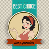 Retro illustration of a beautiful woman and best choice message Stock Photography