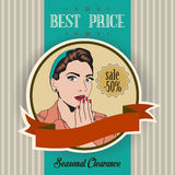 Retro illustration of a beautiful woman and best price message Stock Images