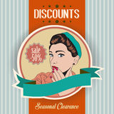 Retro illustration of a beautiful woman and discounts message Stock Images