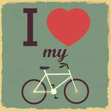 Retro Illustration Bicycle. I love my bicycle Stock Images