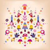 Retro illustration för blomma-, fågel- och champinjonnaturvektor Royaltyfria Bilder