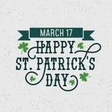 Retro illustration för lyckliga Patricks dag med grungeeffekt och krusidullar för banret, inbjudningar som annonserar etc. Lyckli stock illustrationer
