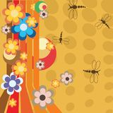 Retro illustration with flowers Royalty Free Stock Photos