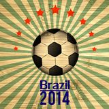 Retro Illustration football card in Brazil flag colors. Soccer ball Stock Photo