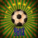 Retro Illustration football card in Brazil flag colors. Soccer ball Stock Photography