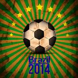 Retro Illustration football card in Brazil flag colors. Soccer ball Royalty Free Stock Photography