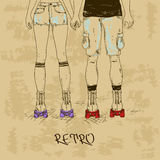 Retro illustration with girl and boy on roller skates Royalty Free Stock Photos
