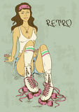 Retro illustration with girl on roller skates Royalty Free Stock Image