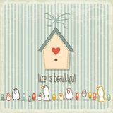 Retro illustration with happy  birds  and phrase Royalty Free Stock Images