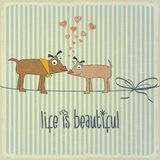 Retro illustration with happy couple dogs in love and phrase Stock Images