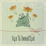 Retro illustration with happy frog and phrase Stock Photo