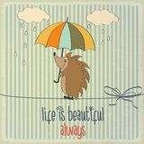 Retro illustration with happy hedgehog and phrase. Life is beautiful,  format Royalty Free Stock Images