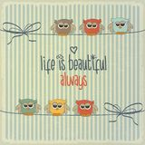 Retro illustration with happy owls and phrase. Life is beautiful, vector format Stock Photography