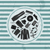 Retro illustration hipster style clothing & accessories Stock Photo
