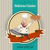 Retro- Illustration mit Koch und köstlicher Küchemitteilung Stockfotografie
