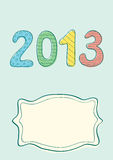 Retro illustration of New year 2013. Illustration of New year 2013 in vintage style stock illustration