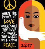 Retro illustration with peace message and girl holding a dove. Stock Photo