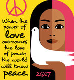 Retro illustration with peace message and girl holding a dove. Stock Photos