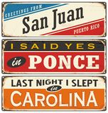 Retro  illustration with Puerto Rico cities tin signs. Stock Photography