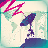 Retro illustration with satellite. Royalty Free Stock Photos