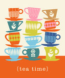 Retro illustration of stacks of tea cups. Colorful retro illustration with stacks of tea cups for poster, invitation, greeting cards Stock Photography