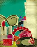 Retro illustration of woman accessories Royalty Free Stock Photo