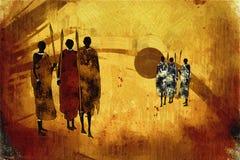 Retro illustrazione d'annata etnica africana Fotografia Stock Libera da Diritti
