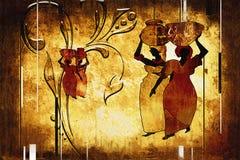 Retro illustrazione d'annata etnica africana Immagine Stock