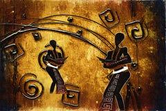 Retro illustrazione d'annata etnica africana Immagini Stock